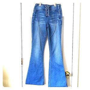 NWOT bebe Lace Up Bell Bottom Denim Pant's Size 26
